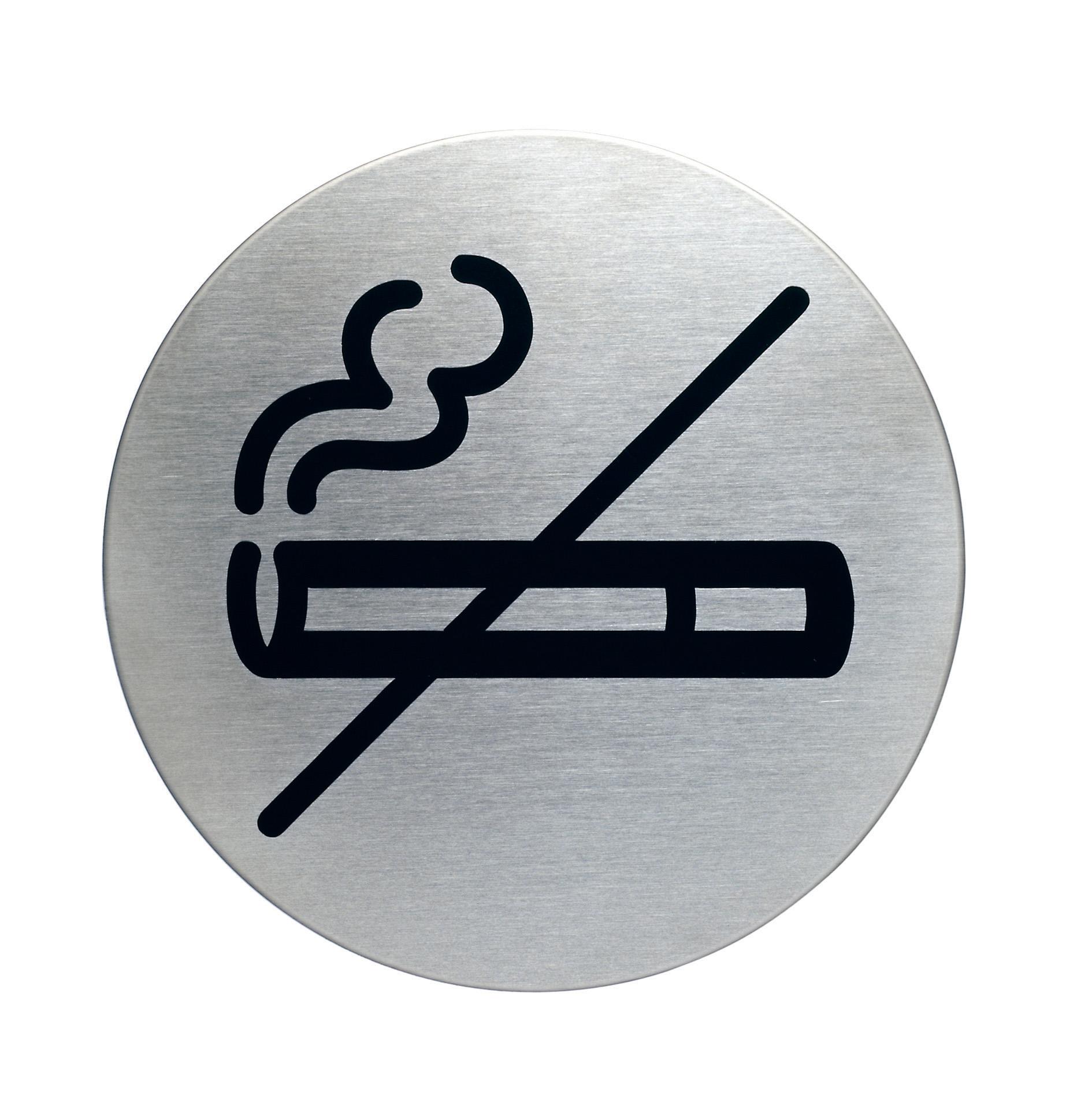 RVS Pictogram Ø 83mm roken verboden