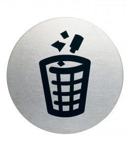 RVS Pictogram Ø 83mm vuilnisbak
