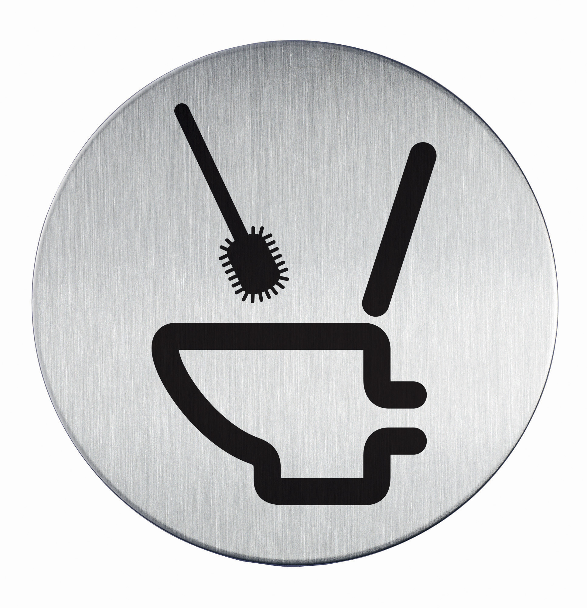 RVS Pictogram Ø 83mm gebruik toiletborstel