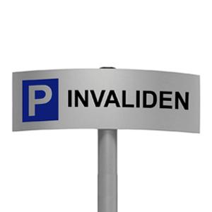 Gebogen parkeerbord Invaliden