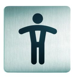 RVS Pictogram 150x150mm toilet heren