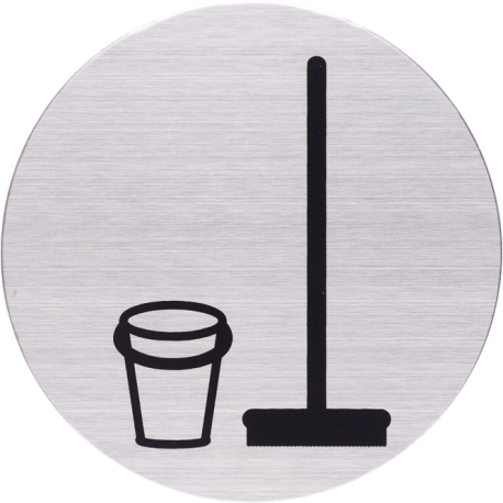 RVS Pictogram bezemkast Ø 82mm