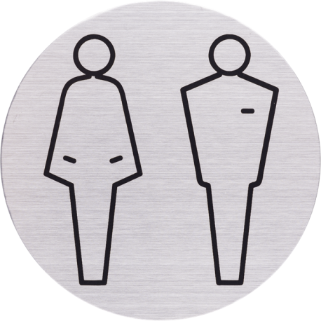 RVS Pictogram man vrouw toilet Ø 82mm