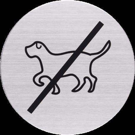 RVS Pictogram verboden voor honden Ø 82mm