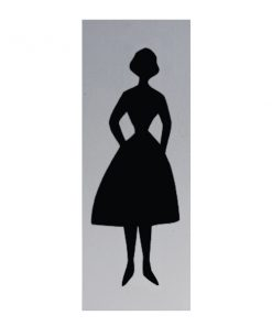 Aluminium deurbordje 130x50mm dames logo 2