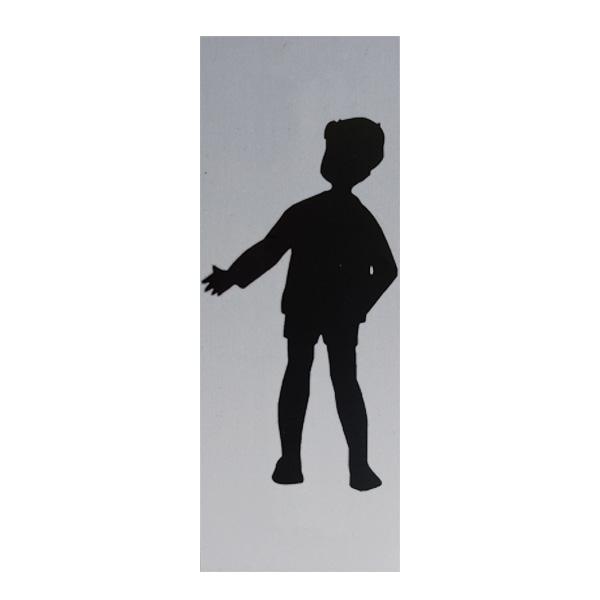 Aluminium deurbordje 130x50mm jongens logo