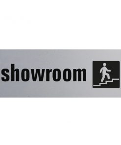 Aluminium deurbordje 130x50mm showroom met logo