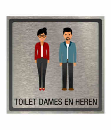 Pictogram eigen ontwerp toilet dames en heren 100x100mm