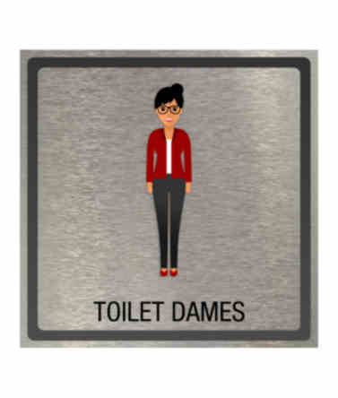 Dibond Pictogram toilet dames 100x100mm