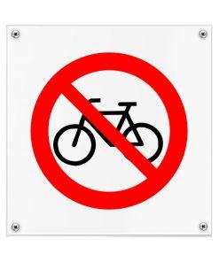 Kunststof pictogrambord fietsen verboden 200x200mm