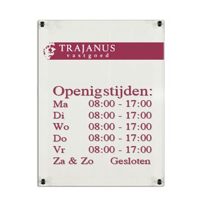 Plexiglas bedrijfsbord kantoor 297x210mm A4